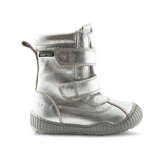 90be0c5b02ec Velcro-støvler i sølv farvet skind fra Rap. Støvlerne har dejligt varmt  uldfoer samt RAP-Tex membran